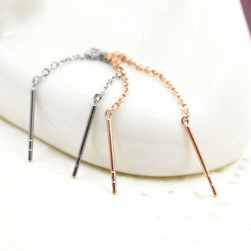 Simple Women Ladies Bar Chain Threader Pull Through Long Earrings Jewelry CB 5