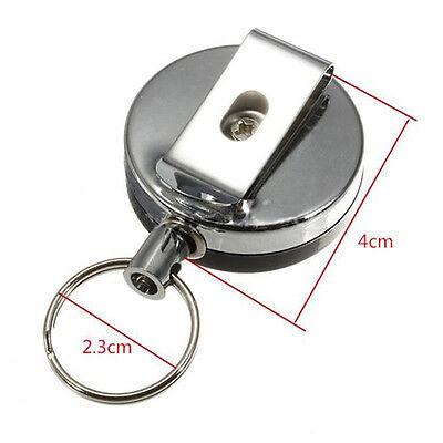 1 Pcs Einziehbarer Pull Keychain Holder Reel Recoil Schlüsselring Gürtel Clip AB
