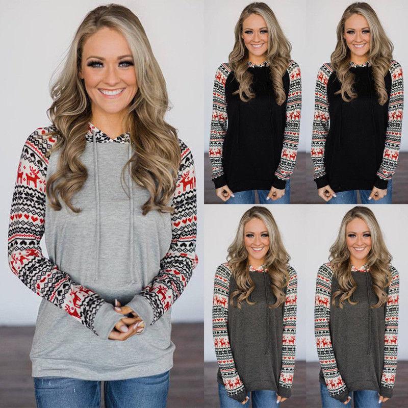 XMAS Women Sweatshirt Sweater Jumper Girls Christmas Hoodie Pullover Tops Blouse 11