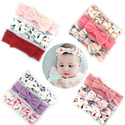 3Pcs Cotton Stretchy Knotted Ear Headbands Hair Band for Baby Girl Newborn New 3