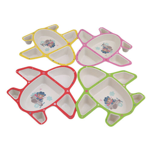 Infants Airplane Tableware Multicolor Plate Food Tray With Spoon Fork Dishes 6A 3