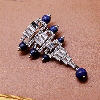 Broche Argenté Art Déco Triangle Perle Lapis Lazuli Bleu Plaqué Argent 925 QD6 6