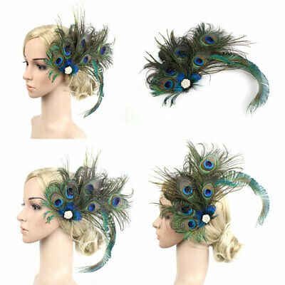 Champagne Peacock Feather Bridal Wedding HairClip Fascinator Head Accessory F122