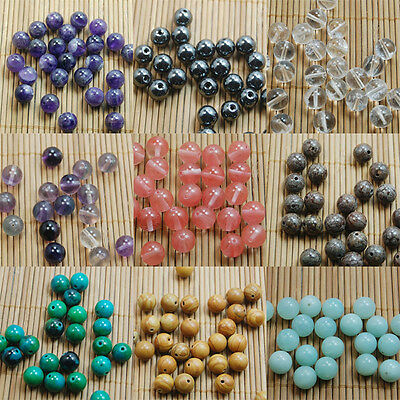 Natural Gemstone Round Spacer Loose Beads 4mm 6mm 8mm 10mm Assorted Stones DIY 10
