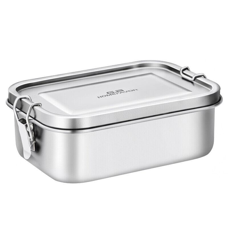 dicht Lunchbox aus Edelstahl 800ML Brotbox Dichtung Brotdose Vesperbox mit Klips 3