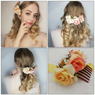 Women's Flower Hair Comb Slide Clips Pins Wedding Bridal Hair Accessories Party 3