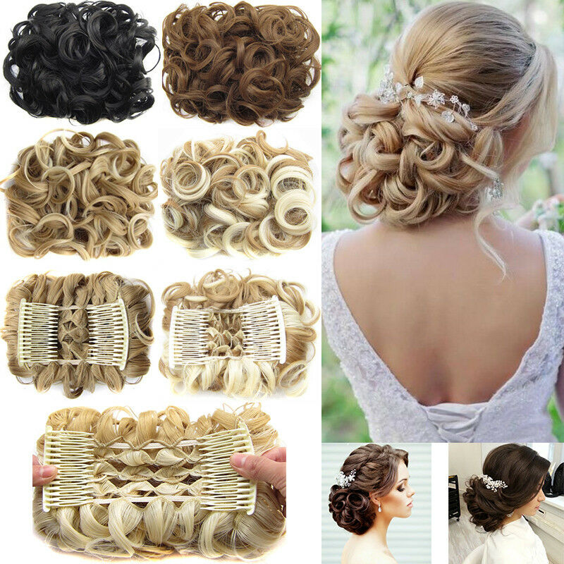 Real Messy Curly Hair Bun Chignon Thick Hair Combs Ponytail Clip In