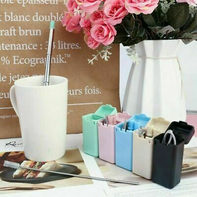 Reusable Metal Folding Collapsible Drinking Straw Portable + Cleaning Brush Set 2