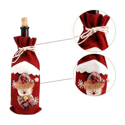 Red Wine Bottle Cover Bags Snowman Santa Claus Christmas Decoration Sequins New 8