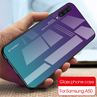 For Samsung Galaxy A50 A40 A20e A70 A80 Gradient Tempered Glass Back Case Cover 4