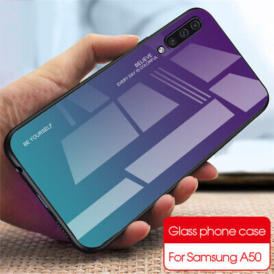 For Samsung Galaxy A50 A40 A20e A70 Gradient Tempered Glass Hard Back Case Cover 4