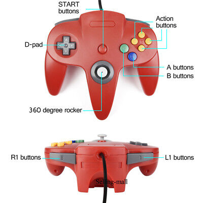N64 Controller Joystick Gamepad Long Wired for classic Nintendo 64 Console Games 8