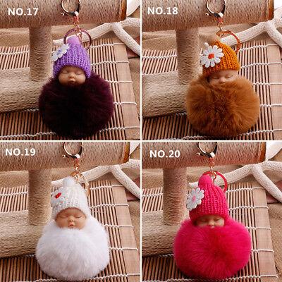 Lovely Sleep Baby Doll Key Chains Rabbit Fur Ball Car Keyring Bag Key Pendant 7