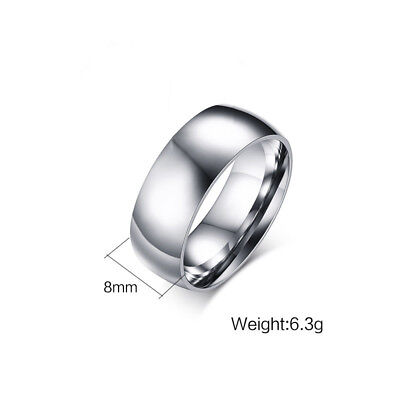 2/3/4/6/8mm Silver Band Men Women's 316L Stainless Steel Engagement Ring Sz 5-13 4