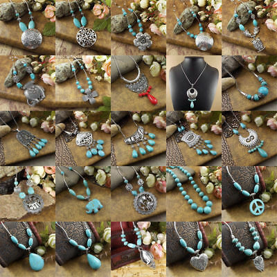20 style Vintage Women's Tibetan Silver Turquoise Beads String Pendant Necklace 2
