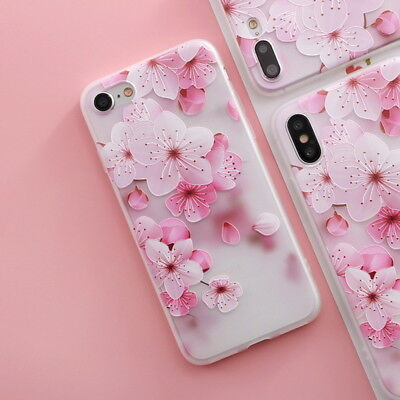 Shockproof Slim Soft TPU Matte Floral Pattern Cover Case For iPhone X 8 6 7 Plus 10