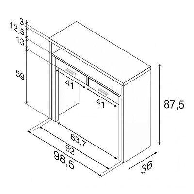 Mesa consola escritorio, mesa extensible, mesa para despacho, Blanco y Roble 4