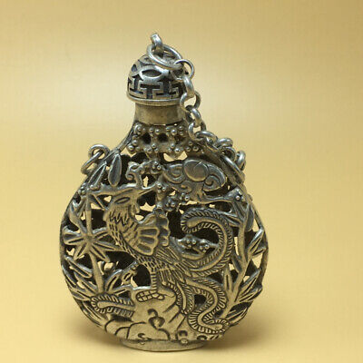 chinese Tibetan silver old copper hand carved Kirin phoenix statue snuff bottle 3
