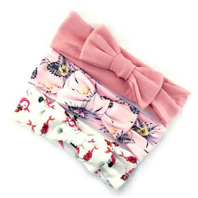 3Pcs Cotton Stretchy Knotted Ear Headbands Hair Band for Baby Girl Newborn New