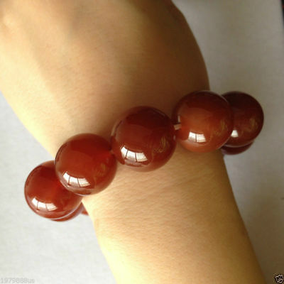 100% pure natural red jade jade bead bracelet 20mm 2