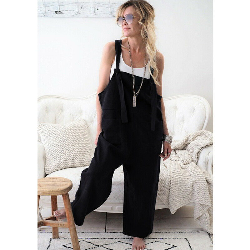 Women Oversized Loose Dungaree Cotton Linen Jumpsuit Playsuit Overalls Trousers 5