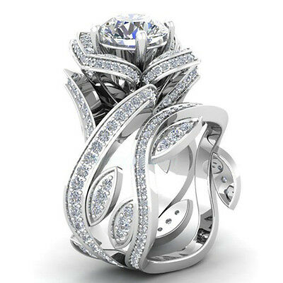 Fashion Women 925 Silver ,Gold Lotus Flower White Topaz Ring Set Wedding Jewelry 4