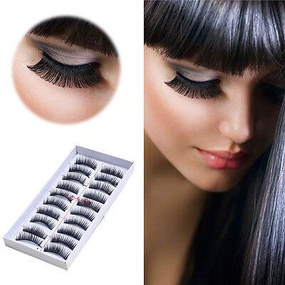 5/10 Paires Longue Faux cils Maquillage Naturel Faux Épais Eye Lashes Cils Noir