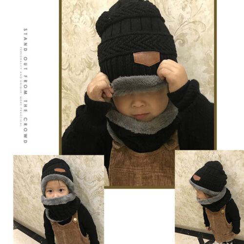 2pcs Soft Hat Scarf Set Child kids Baby Girl Boy Winter Warm Knitted Beanie Cap 2