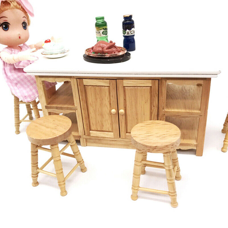 1/12 Dollhouse miniature wooden stool chair furniture accessories.decoration BF 4