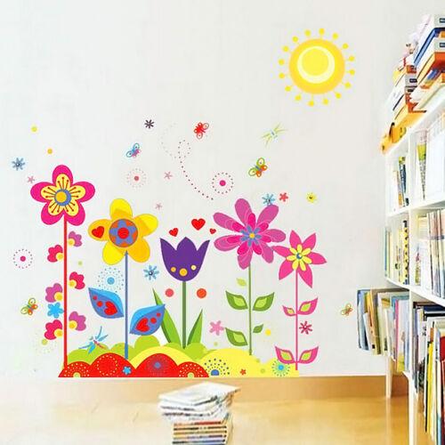 DIY ABNEHMBARE WANDTATTOO Blumen Wandsticker Aufkleber Kinderzimmer ...