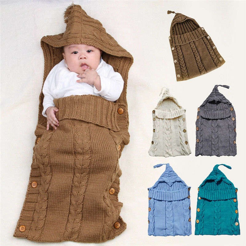 Infant Baby Kids Knitted Blanket Swaddle Sleeping Bag Sleep Sack Stroller Wrap 2