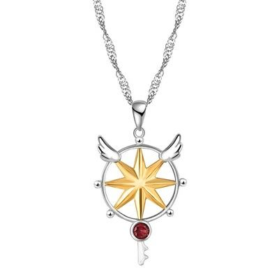 Anime Card Captor Sakura Kinomoto Magic Star Wand Key 925 Silver Necklace