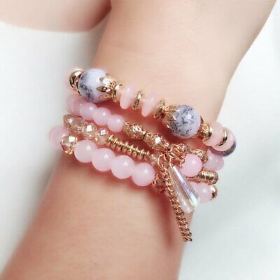 Women Boho Multi-layer Crystal Beaded Beads Bohemia Cuff Bracelets Set Bangle 12