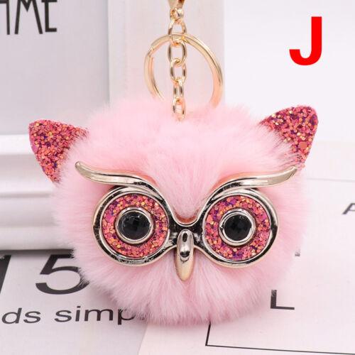 Charm Owl Keychain Fox Faux Fur Cute Pompom Ball Pendant Soft Car Keyring Purse 11