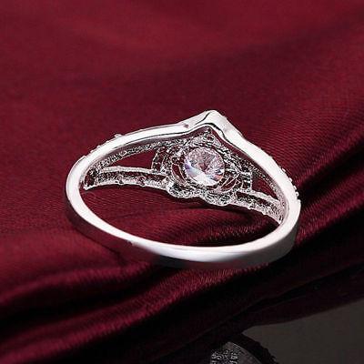 Cheap Fashion Silver Plated Women Crystal Wedding Bridal Lady heart Ring 4