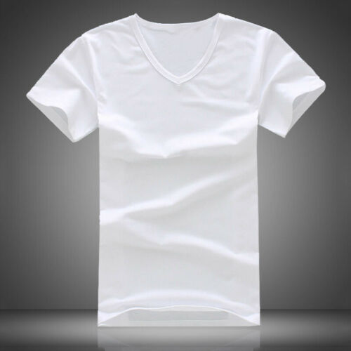 Summer Men V Neck Slim T-Shirt Tops Cotton Short Sleeve Black White 7