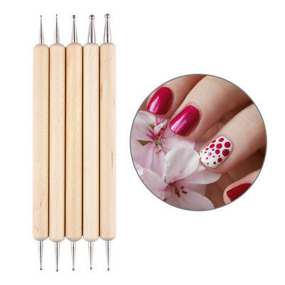 5Pcs/set 2-Way Wooden Nail Art Dotting Dot Pen Marbleizing Manicure Tools DIY