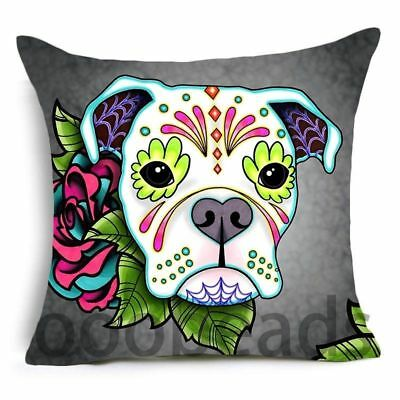 "SUGAR SKULL CUSHION COVER 17/"" Day of the Dead DOG Tan Grey Pink Blue Red BEAGLE"