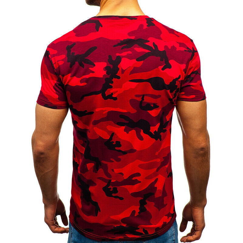 Mens City Camouflage Tactical Military Short Sleeve Army Camo T-Shirt Blouse Top 5
