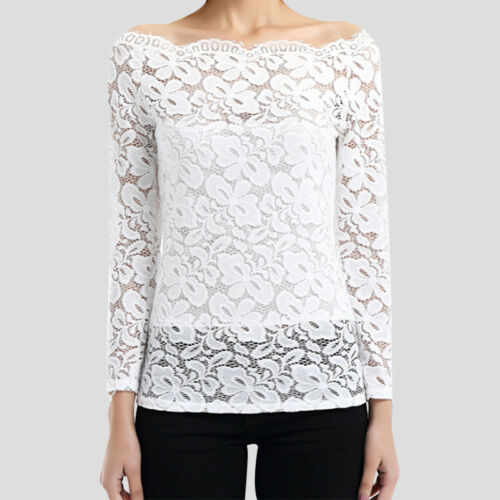 Femme Pull Dentelle Floral Chemisier Maille Coupe Pullover Elegant Collants Sexy