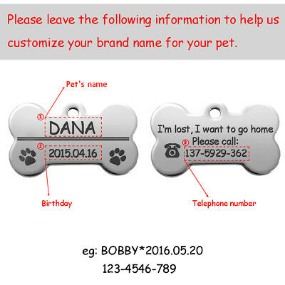Bone Shape Custom Personalized Engraved Dog Tag Pet Cat Name ID Tag Phone Tag 3