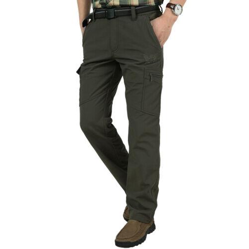 Men's Thermal Winter Pants Fleece Lined Elasticated Work Cargo Combat Trousers 8