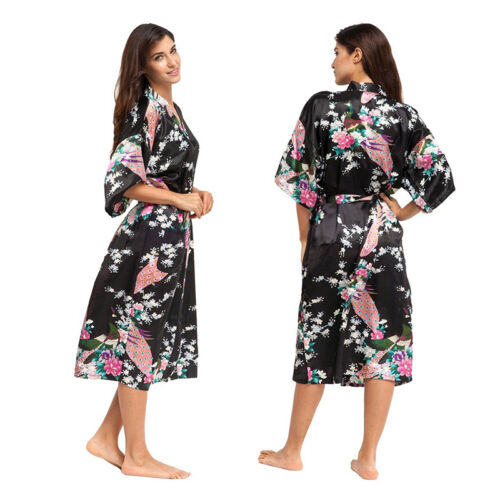 600c328fe4b40 Femme Satin Soie Kimono Robe de Chambre Peignoir Mariage Pyjama Peignoir 6  6 sur 8 ...