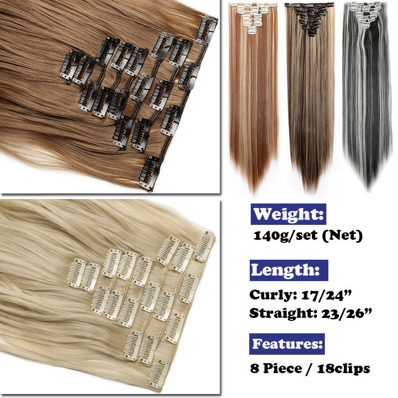 ON CLEARANCE Clip in 100% Real Natural as Human Hair Extensions 8 Pcs  Long Wavy 5