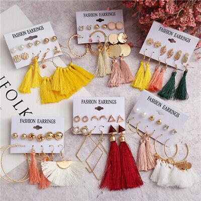 15Pairs Korean Style Earrings Set Tassel Crystal Ear Stud Dangle Hook Chic Women 11