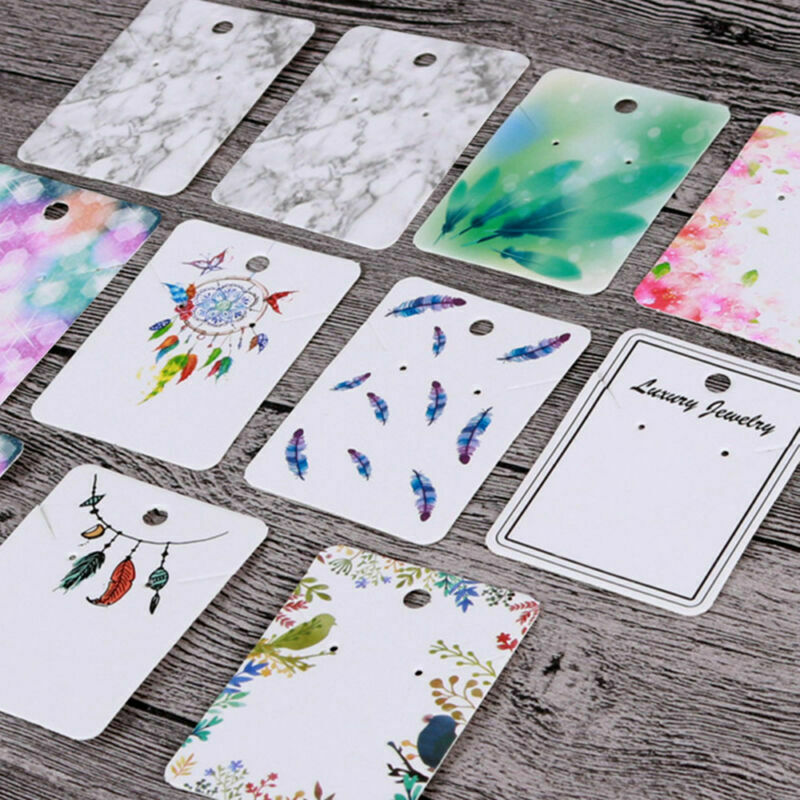 100pcs Blank Necklace Earrings Set Paper Display Card Jewelry Hanging Cards