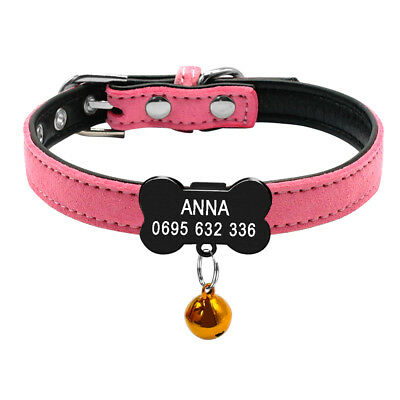 Personalized Cat Dog Collar Bone Shape Black Tags Engraved Name Phone with Bell 11
