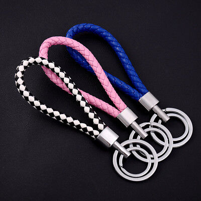 Two Circle Multi-Color Leather Rope Strap Weave Key ring Key chain KeyFob Gift 4