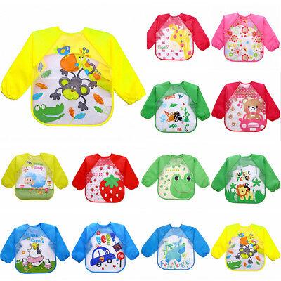 Baby Toddler Waterproof Long Sleeve Children Kids Feeding Art Smock Bib Apron