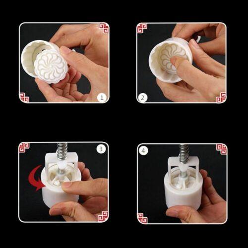 4pcs 125g 3D Flower Stamps Moon Cake Decor Mould Barrel Round Mooncake Mold 8